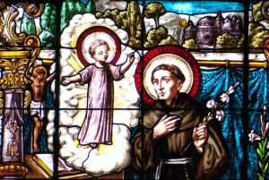 Franciscan monk stained glass detail